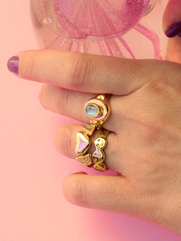 Moonstone signet ring