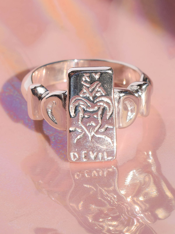 The Devil tarot card ring