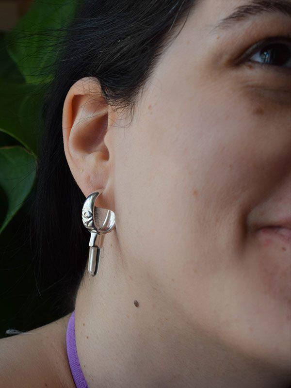 Σκουλαρίκια με πετράδι χαλαζία