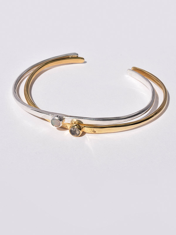 Birthstone bangle with opal or labradorite