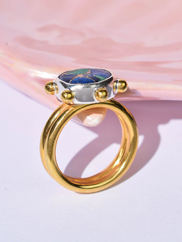 Copper azurite ring