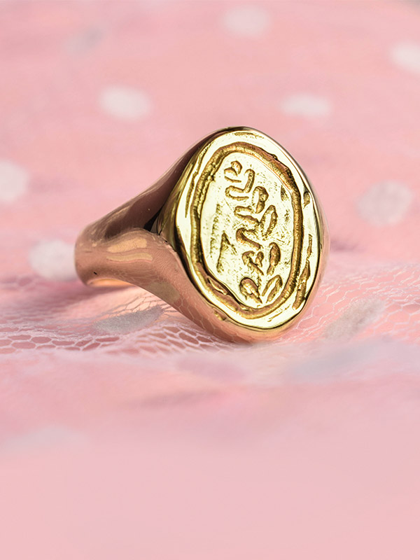Leaf signet ring