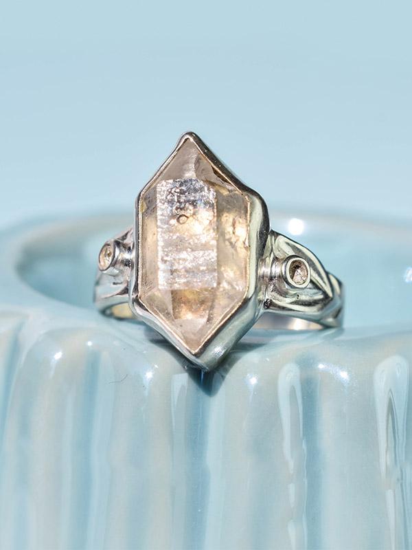 Raw gemstone ring