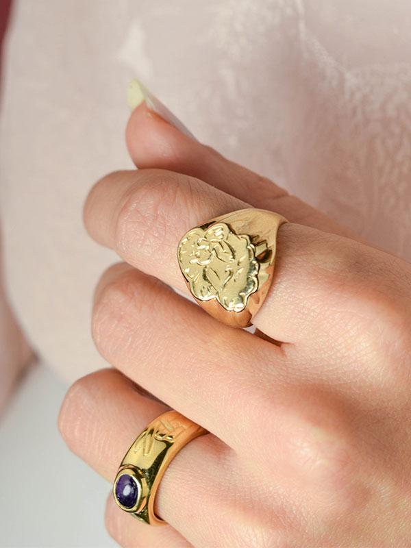 Angel signet ring
