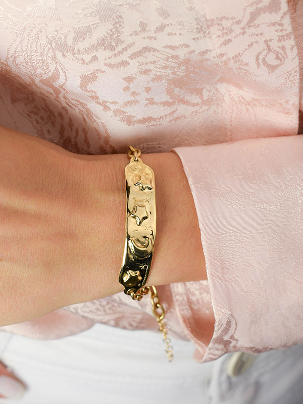 Moon and stars gold tag bracelet