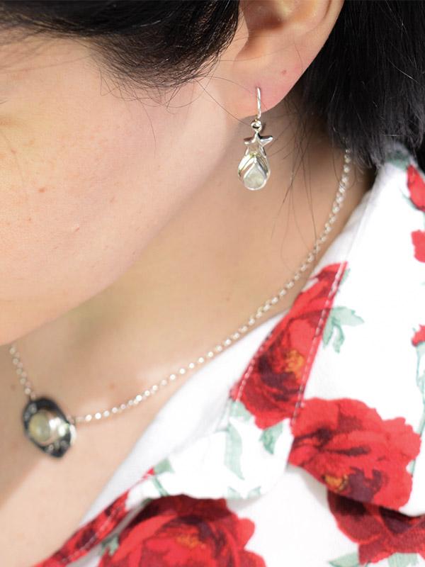 Rainbow moonstone stars earrings