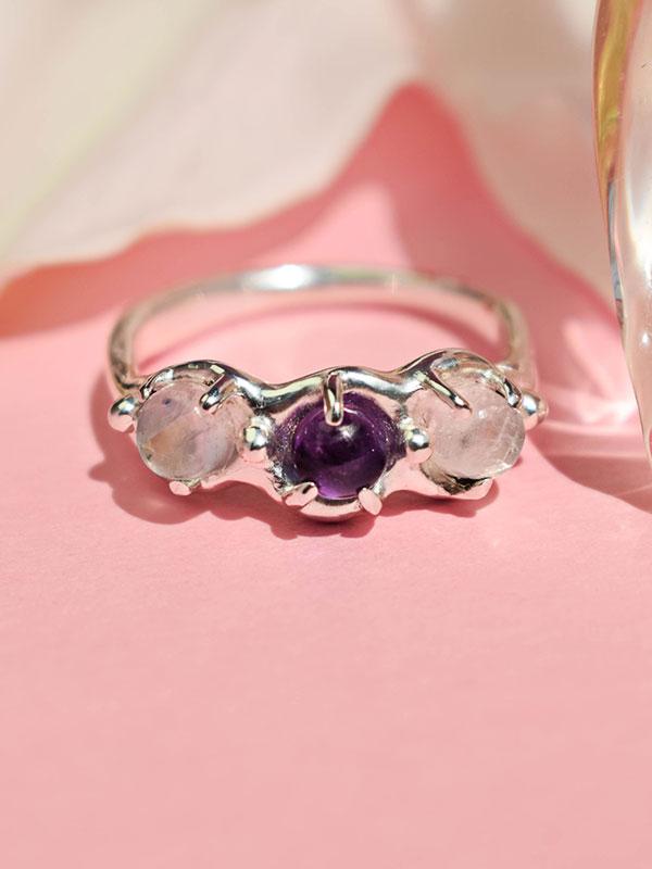 Dainty ring with three gemstones
