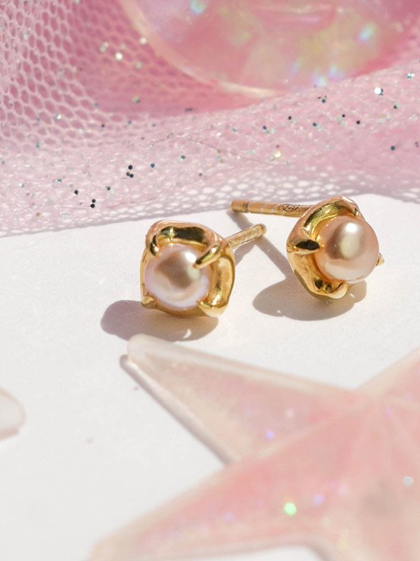 Small stone stud earrings