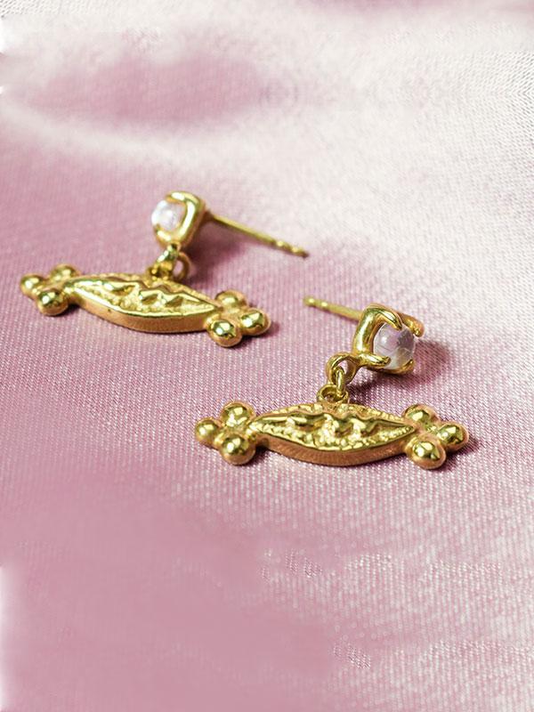 Moonstone and snake earrings