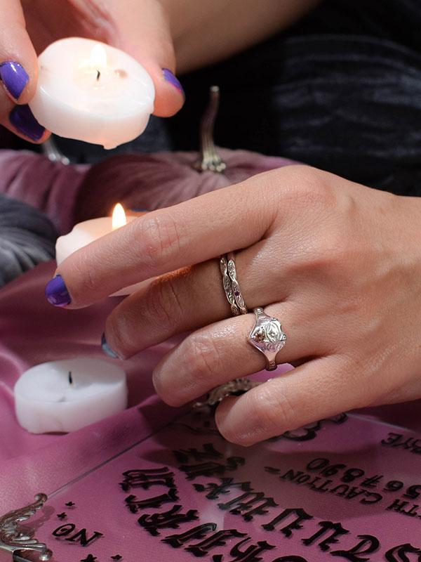 Pink tourmaline ouija ring
